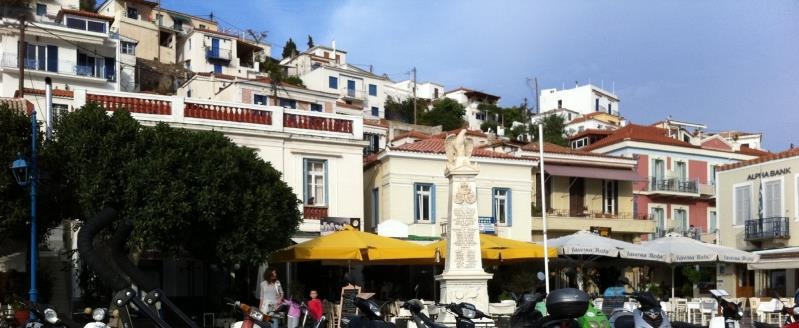 Poros portside - old greek houses