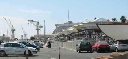 View of La Ciotat France Port and cranes of La Ciotat Wharf