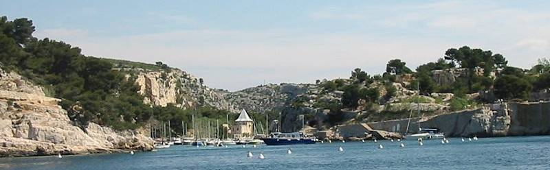 Cassis most close Calanque Port Miou with moorings for sailing boats and motoryachts visiting this Calanque