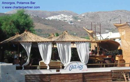 Aigiali Bar on the beach Amorgos sunset travel sailing yachtcharter