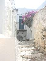 Astipalaia small narrow streets between the houses in Chroio around the castle