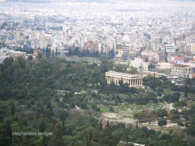 Athens Acropolis temple of Hephaistos Greece Yachtcharter visits to Athens