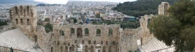 View from Acropolis to theater and old town plaka of Athens