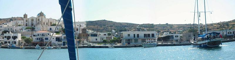 view from the quai to the village and church of Lipsi