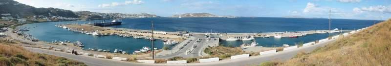 Tourlos Marina Mykonos panorama - click to enölarge