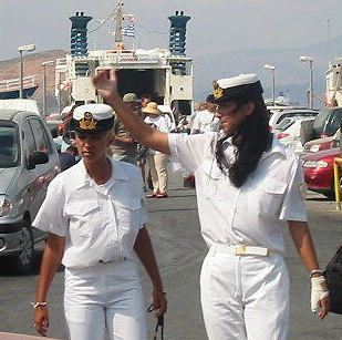 Naxos Port Police attractice greek ladies on duety for ferries and boats as well Yachts in Charter