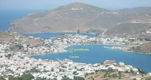 Patmos port ferryboats and mooring for guest boats Charterboats
