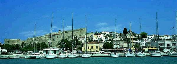Turkey Cesme the castel and the pontoon of a german chartercompany with charteryachts